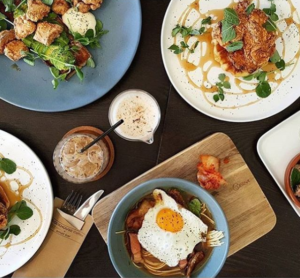 Delicious brunch food and coffee at Blockhouse Coffee